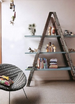 upcycled-ladder-into-shelves